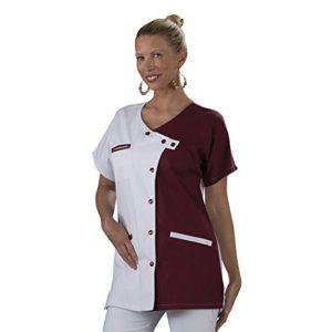 Label blouse Tunique blouse médicale couleur moderne 3 poches passe poiles Fermeture asymétrique Sergé 210 gramme Couleurs Blanc Bordeaux Pressions couleurs Lavage Machine 90 degrés ou industriel T0-36