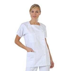 Label blouse Tunique médicale Femme 3 poches col Carré fermeture pressions Sergé 210 gramme Couleurs Blanc Pressions inoxydables Lavage Machine 90 degrés ou industriel T8-64/66