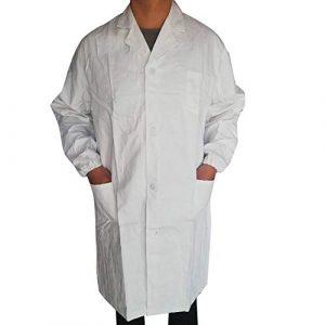 liYEZI Unisexe Blouse de Laboratoire Chimie en Coton Blanche Manches Longues pour Aux étudiants, Laboratoire Scientifique, Médecin, Infirmière, Halloween Cosplay (S)