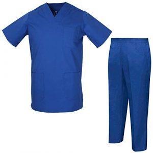 Misemiya – Ensemble Uniformes Unisexe Blouse – Uniforme Médical avec Haut et Pantalon – Ref.8178 – Medium, Bleu