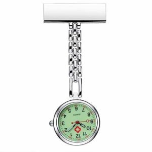Montre infirmière épinglette for Clipser Hanging médicale Montre de Poche pointeur Phosphorescent Noir (Color : Silver)