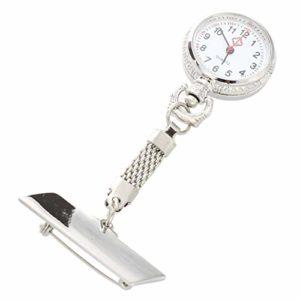 Montre infirmière paramédic Docteur Montres de Poche Diamant Quartz épinglette Clip-on Hanging Broche Fob Montre (Color : Silver)