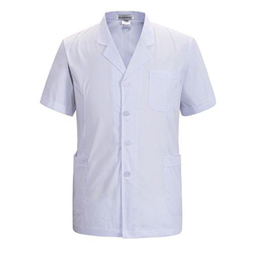 pour des Hommes Vêtements De Travail Manteau Blanc Veste Médecins Infirmière Manche Courte Paragraphe Court (XL)