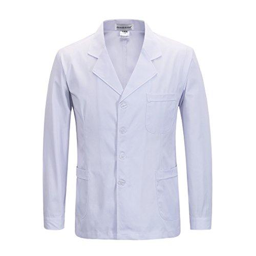 pour des Hommes Vêtements De Travail Manteau Blanc Veste Médecins Infirmière Manche Longue Paragraphe Court (L)