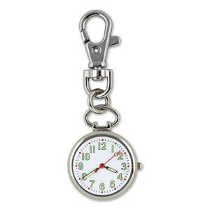 Qilegn lumineux montre infirmière à suspendre à clipser Medical Montre de poche porte-clés (Silver)