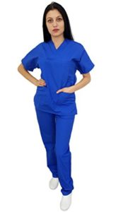 Tecno Hospital Tenue complète pour hôpital, Unisexe, OSS, esthétique, infirmière, Tunique et Pantalon (Bleu, S) Bleu Bleu S