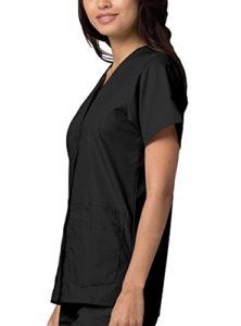 Uniformes Médicaux pour Femmes Double Poche Avant à Fermoir Blouse d'Infirmière Haut d'Hôpital – 604 Couleur: BLK | Taille: XS