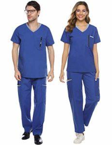 Abollria Ensemble Uniformes Coton Unisexe Uniforms Universel Label Blouse Tunique médicale Haut Blouse Portefeuille Blouse Uniforme Médical avec Haut et Pantalon, Bleu * Homme, L