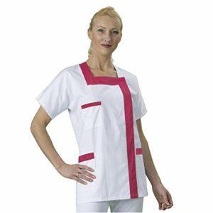 Blouse médicale Col Carré Manches Courte Hauteur Tunique Coloris Blanc Finish Fush