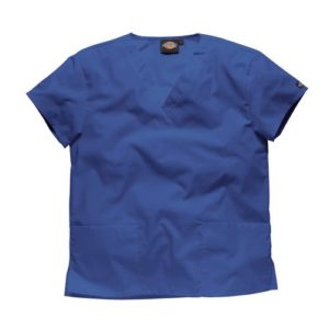 Dickies Workwear Chemise de médecin avec 2poches et col en V – bleu – X-Small