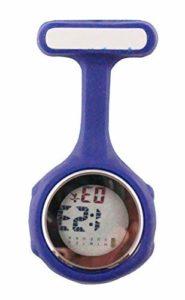 Ellemka JCM-330 Montre Infirmière Digital-e Numérique LCD FOB de Tunique EL Rétro-Eclairage à Clip Epingle Broche Silicone Mouvement Quartz Docteur Paramédical Couleur Bleue – Emballage Original