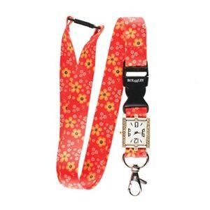 Floral Motif Rouge Cordon Intégré montre d'infirmière Superbe Sangle de cou/Lanière montre