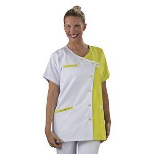 Label blouse Tunique blouse médicale couleur moderne 3 poches passe poiles Fermeture asymétrique Sergé 210 gramme Couleurs Blanc Jaune Pressions couleurs Lavage Machine 90 degrés ou industriel T6-56/58