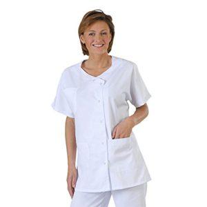 Label blouse Tunique médicale et esthticienne col trapèze 3 poches Sergé 210 gramme Couleurs Blanc Pressions inoxydables Lavage Machine 90 degrés ou industriel T6-56/58