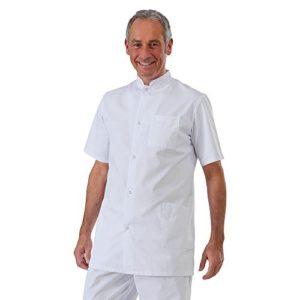 Label blouse Tunique médicale homme col officier 3 poches fermeture pressions Sergé 210 gramme Couleurs Blanc Pressions inoxydables Lavage Machine 90 degrés ou industriel T0-36