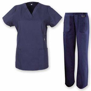 Misemiya – Ensemble Uniformes Unisexe Blouse – Uniforme Médical avec Haut et Pantalon HÔTELLERIE Ref.7078 – Medium, Bleu Marine
