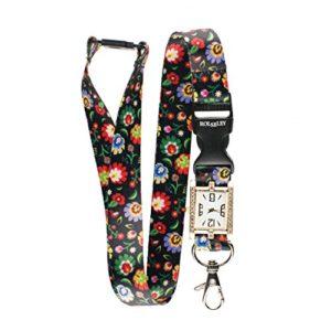Motifs Folk Floral Lanière avec Intégré montre d'infirmière Superbe Sangle de cou/Lanière montre