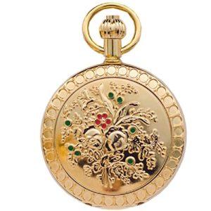 QB-Pocket watches Montre de poche mécanique automatique Camellia cuivre métallisé Montre de murale modèle infirmière classique Retro Clamshell