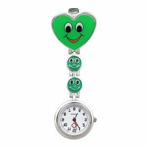 Simple Montre Unisexe Coeur Quartz Mouvement infirmière Broche Fob Tunique Montre de Poche (Color : Green)