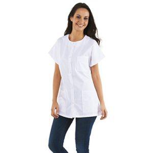 Tunique médicale Femme, col rond, boutons pression (infirmiere pharmicie hopital medecin…) (Taille 1 – S – 38/40)