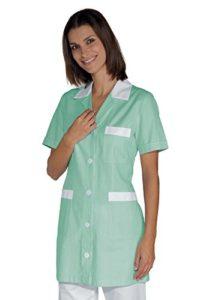 Tunique Médicale Manches Courtes Rayé Vert Blanc 100% Coton