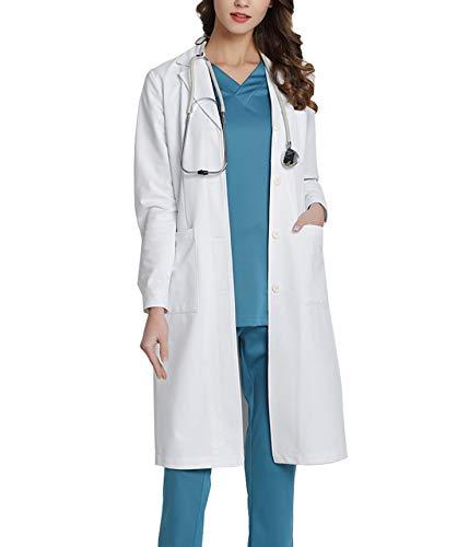 WWOO Blouse de Laboratoire Femme Blanche Blouse medicale Médicale Vêtements de Travail et Uniformes Tissu Mise à Niveau Mince XXL