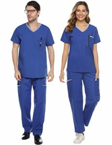 Abollria Ensemble Uniformes Coton Unisexe Uniforms Universel Label Blouse Tunique médicale Haut Blouse Portefeuille Blouse Uniforme Médical avec Haut et Pantalon, Bleu, S