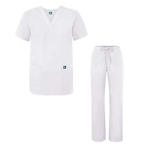 Adar Ensemble Uniformes pour Homme Blouse – Uniforme Médical avec Haut et Pantalon – 701_M Couleur: WHT | Taille: S