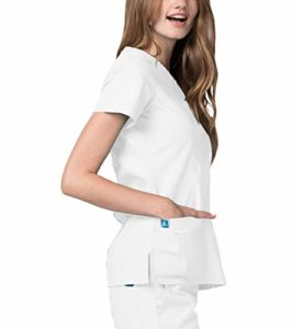 Adar Uniforms Universel Haut Blouse Portefeuille à Grande Poche à Double Couture pour Femme – 2638 Couleur: WHT | Taille: M