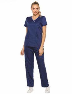 Aibrou Blanche à Manches Courtes Lab Blouse Coton Médecins Scientifique Femmes Infirmière Uniforme Costume Vêtements Médicaux