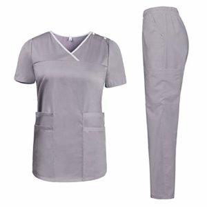 Aibrou Ensemble Uniformes Coton Femme médicale Portefeuille Blouse avec Haut et Pantalon