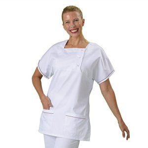 Blouse médicale forme tunique médical col carre pour infirmière et aide soignante manches courtes liseré Prune sur les 3 poches et les manches T8