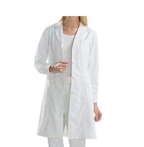 BSTT Femme Blouse de Laboratoire Blanc Vêtements de Travail Uniformes Médical Nouvelle amélioration Manches boutonnées Mince XXXL