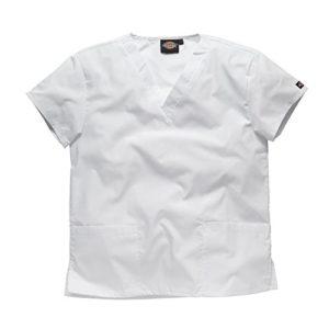 Dickies Workwear Chemise de médecin avec 2poches et col en V – blanc – S