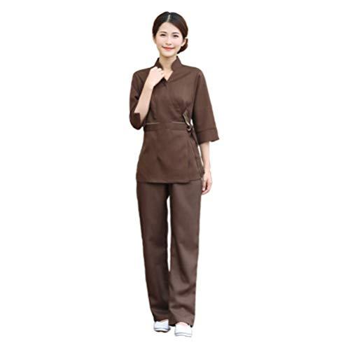 Minkissy Gommage Haut Pantalon Femmes Esthéticienne Vêtements de Travail Salon Spa Uniforme Hôpital Vêtements Travail Vêtements Costume Costume pour Dame Café 1 Set / 2 Pcs Taille M