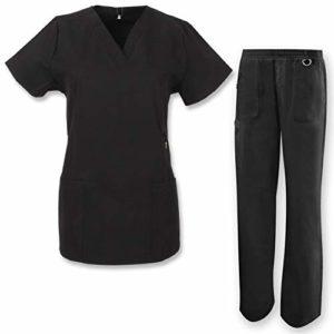 Misemiya – Ensemble Uniformes Unisexe Blouse – Uniforme Médical avec Haut et Pantalon HÔTELLERIE Ref.7078 – X-Large, Noir