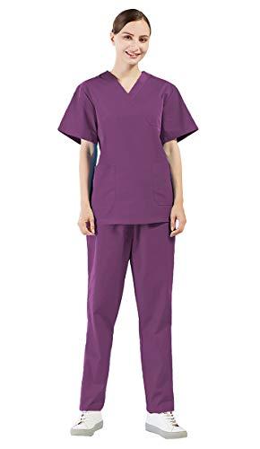 Nanxson Uniforme Médicale en Coton Veste et Pantalon 2 Pièces Ensemble de Vêtement de Travail Infirmier/Garde-Malade/Soignant/Médecin/Pharmacie/Laboratoire/Chirurgien CF9027 (Femme Pourpre, XL)
