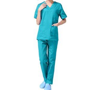 Nanxson(TM Ensemble Veste et Pantalon Médical Uniforme de Labo Blouse Unisexe en Coton CF9027 (Homme Vert, XL)