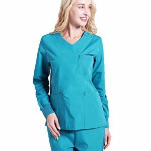 Scrubs de théâtre unisexe T-shirt manteau Vêtements de travail de médecins Scrub Set pour hommes Uniforme médical avec un pantalon pour tuniques santé et infirmières,Salon de coiffure,C,XXXL