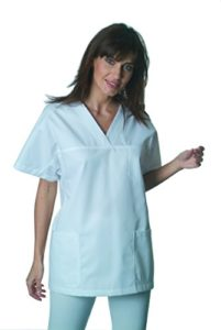 Tunique médicale blanche, manches courtes, 3 poches (blouse infirmiere estheticienne pharmacie…) (Taille 0 – XS – 34/36)