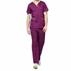 YYNUDA Vêtements Médicals Veste Et Pantalon Unisexe Uniformes Sanitaires à Col en V Blouse Uniforme pour Hommes