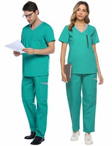 Abollria Ensemble Uniformes Coton Unisexe Uniforms Universel Label Blouse Tunique médicale Haut Blouse Portefeuille Blouse Uniforme Médical avec Haut et Pantalon, Vert, S
