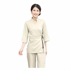 Minkissy Gommage Haut Pantalon Femmes Esthéticienne Vêtements de Travail Salon Spa Uniforme Coton Vêtements Hôpital Travail Vêtements de Travail V Cou Costume 1 Set / 2 Pcs Taille M