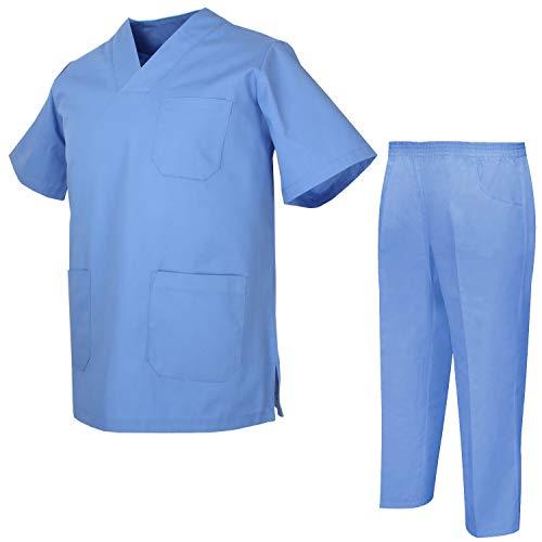 Misemiya – Ensemble Uniformes Unisexe Blouse – Uniforme Médical avec Haut et Pantalon – Ref.8178 – Large, Ciel Bleu