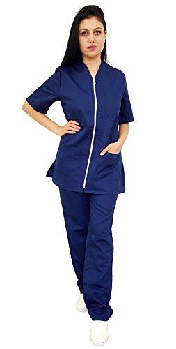 Tecno Hospital Tenue complète pour hôpital, blouse et pantalon, pour esthéticien, infirmier, médecin, unisexe avec fermeture éclair – Bleu – L