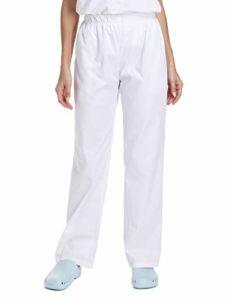 WWOO Femme Pantalon de Travail Blanc Pur Pantalons médical Taille Elastique pour Coton Opaque Matériau Épais S