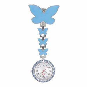 ZHJC Montre à Gousset d'infirmière Papillon Montre infirmière médicale Mignon Regarder la Poitrine Hanging médicale Montre de Poche Facile à Lire (Couleur : Blue, Size : 2.6x8cm)