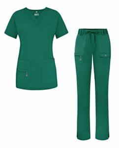 Adar Uniforms 4400P Ensemble de gommage pour femme avec col en V et pantalon multi-poches Vert chasse XS