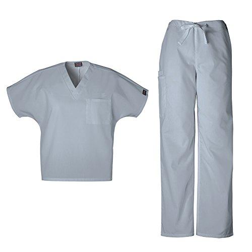 Cherokee 4777 Pantalon de travail unisexe avec col en V avec cordon de serrage 4100 (gris – XXL haut)