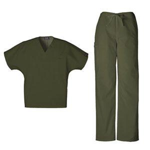 CherOKEE – Ensemble de gommage unisexe – 4777 – Col en V et 4100 – Pantalon cargo avec cordon de serrage – Vert – 3XL Hauts/4XL pantalons
